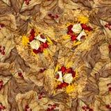 Безшовная текстура картины предпосылки огромных листьев wi тополя Стоковая Фотография