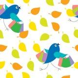 Безшовная текстура листьев с птицами иллюстрация вектора