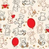 Безшовная текстура - медведи, сердца, воздушные шары Стоковое Изображение