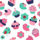 Безшовная текстура праздника с птицами и пирожными иллюстрация вектора