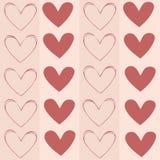 Безшовная текстура предпосылки, картина с сердцами Стоковая Фотография RF