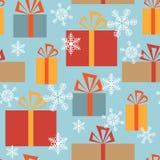 Безшовная текстура рождества с подарочными коробками и снежинками иллюстрация вектора