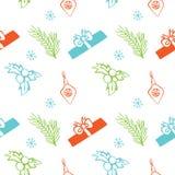 Безшовная текстура рождества вектора Безшовный фон с сосной, подарочной коробкой, украшением рождества, ягодой падуба, снежинками Стоковые Фото