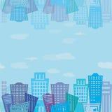 безшовная текстура Современный дизайн зданий недвижимости Городская текстура ландшафта Стоковые Фотографии RF
