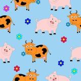 Безшовная текстура состоя из свиней и коров Стоковая Фотография