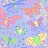 Безшовная текстура с бабочками и цветками Стоковая Фотография