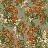 Безшовная текстура с богато украшенными ягодами Стоковые Изображения RF