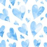 Безшовная текстура с голубыми сердцами акварели Стоковое Фото