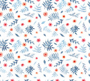 Безшовная текстура с листьями сини акварели и красными цветками бесплатная иллюстрация