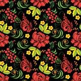 Безшовная текстура с картиной Khokhloma 10 eps Стоковое Изображение RF
