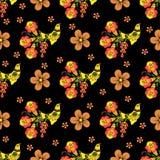 Безшовная текстура с картиной Khokhloma 10 eps Стоковые Изображения RF
