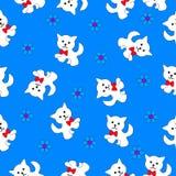 Безшовная текстура с котенком Стоковая Фотография