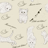 Безшовная текстура с котятами. иллюстрация штока