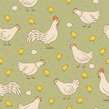 Безшовная текстура с кранами, курицами и цыпленоками. Стоковое Фото