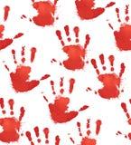 Безшовная текстура с красными печатями рук ` s детей Стоковое Изображение RF