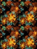 Безшовная текстура с красными цветками в методе акварели. Стоковое Фото