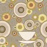 Безшовная текстура с кругами и чашкой иллюстрация вектора