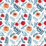 Безшовная текстура с маками акварели красными и листьями сини бесплатная иллюстрация