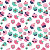 Безшовная текстура с милыми пирожными и цветками птиц иллюстрация штока