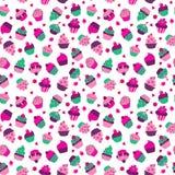 Безшовная текстура с пирожными и ягодами на белой предпосылке иллюстрация штока