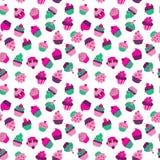 Безшовная текстура с пирожными на белой предпосылке бесплатная иллюстрация