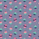 Безшовная текстура с пирожными на серой предпосылке бесплатная иллюстрация