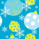 Безшовная текстура с покрашенными игрушками рождества иллюстрация штока