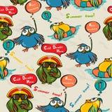 Безшовная текстура с смешными птицами. иллюстрация вектора