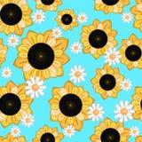 Безшовная текстура с солнцецветами иллюстрация вектора