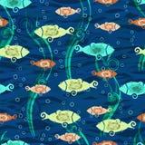 Безшовная текстура с стилизованными рыбами Ткани с рыбами шаржа иллюстрация вектора