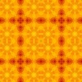 Безшовная текстура с теплой картиной отрезка оранжевого желтого цвета красной флористической Стоковое фото RF