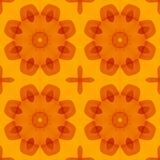 Безшовная текстура с теплыми цветками оранжевого красного цвета стилизованными Стоковые Фото