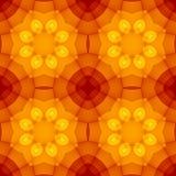 Безшовная текстура с теплым желтым цветочным узором калейдоскопа оранжевого красного цвета Стоковые Фотографии RF