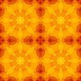 Безшовная текстура с теплым цветочным узором калейдоскопа желтого цвета оранжевого красного цвета Стоковые Фотографии RF