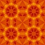 Безшовная текстура с теплым цветочным узором оранжевого красного цвета Стоковые Фото