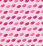 Безшовная текстура с трассировками поцелуев, розовая романтичная картина Стоковая Фотография