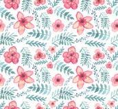 Безшовная текстура с цветками акварели экзотическими красными, ягодами и листьями зеленого цвета иллюстрация штока