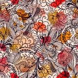 Безшовная текстура с цветками и бабочками. Бесконечное флористическое PA бесплатная иллюстрация