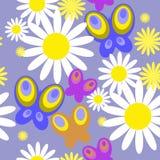Безшовная текстура с цветками и бабочками иллюстрация штока