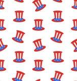Безшовная текстура с шляпой дядя Сэм верхней на американские праздники Стоковые Фото