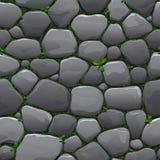 Безшовная текстура шаржа старой проезжей части булыжника с травой и мхом Стоковое Фото