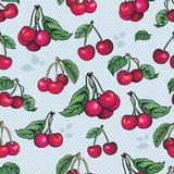 Безшовная текстура - яркий вектор плодоовощ вишни Стоковые Изображения