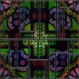 Безшовная текстурированная запятнанная средневековая панель стекла картины иллюстрация вектора