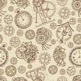 Безшовная текстурированная предпосылка с часами и механически частями бесплатная иллюстрация