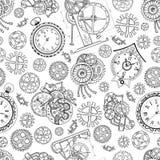 Безшовная текстурированная предпосылка с часами и механически частями на белизне бесплатная иллюстрация