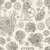 Безшовная текстурированная предпосылка с шестернями и механически частями бесплатная иллюстрация