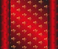 Безшовная темнота - красные обои Желтое флористическое Стоковое Изображение