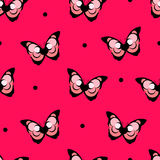 Безшовная точка польки картины с абстрактной бабочкой на красной предпосылке вектор Стоковое Изображение