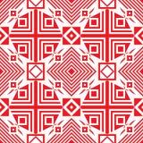 Безшовная традиционная геометрическая картина красная белизна иллюстрация штока