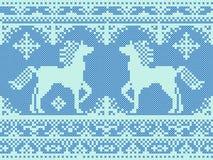 Безшовная традиционная картина рождества вышивки Стоковая Фотография